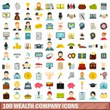 100 wealth company icons set, flat style. 100 wealth company icons set in flat style for any design vector illustration royalty free illustration