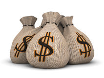 Wealth concept. Number of bags stuffed by money Stock Photography