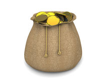 Wealth concept. Bag stuffed by golden coins Royalty Free Stock Images