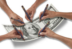 Money Dollar Hand Pencil Stock Photos
