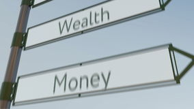 Wealth direction sign on road signpost with different life values captions. Conceptual 4K conceptual animation stock illustration