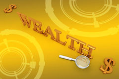 Wealth And Dollars In Yellow Background  Stock Photos