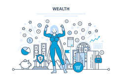 Wealth, financial investments, security of deposits, secure financial savings, money. Wealth, financial investments, marketing, security of deposits, guarantee Stock Images