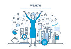 Wealth, financial investments, security of deposits, secure financial savings, money. Wealth, financial investments and success, marketing, security of deposits Royalty Free Stock Images