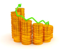Wealth and growth: green graph over golden coins Stock Images