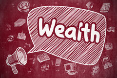 Wealth - Hand Drawn Illustration on Red Chalkboard. Royalty Free Stock Photography