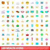 100 wealth icons set, cartoon style. 100 wealth icons set in cartoon style for any design vector illustration Royalty Free Stock Images