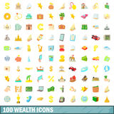 100 wealth icons set, cartoon style Stock Photos