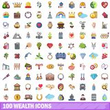 100 wealth icons set, cartoon style. 100 wealth icons set. Cartoon illustration of 100 wealth vector icons isolated on white background Stock Images