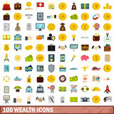 100 wealth icons set, flat style Royalty Free Stock Photo