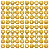 100 wealth icons set gold. 100 wealth icons set in gold circle isolated on white vector illustration Stock Photography