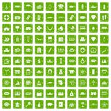 100 wealth icons set grunge green. 100 wealth icons set in grunge style green color isolated on white background vector illustration Stock Illustration