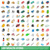 100 wealth icons set, isometric 3d style. 100 wealth icons set in isometric 3d style for any design vector illustration royalty free illustration
