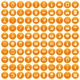 100 wealth icons set orange. 100 wealth icons set in orange circle isolated on white vector illustration stock illustration