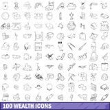 100 wealth icons set, outline style Royalty Free Stock Image