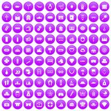100 wealth icons set purple. 100 wealth icons set in purple circle isolated on white vector illustration Royalty Free Stock Photography