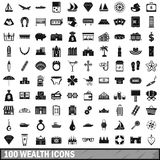 100 wealth icons set, simple style Stock Photos