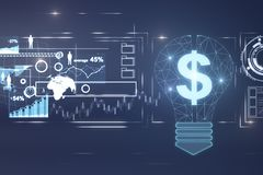 Wealth, idea, money and innovation backdrop. Abstract polygonal lamp and dollar sign business interface on blue backdrop. Wealth, idea, money and innovation Stock Photography
