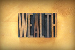 Wealth Letterpress Royalty Free Stock Image