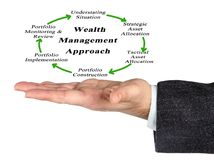 Wealth Management Approach. Man presenting Wealth Management Approach stock image