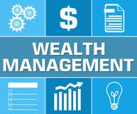 Wealth Management Business Symbol Blue Grid. Wealth management concept image with text and related symbols Royalty Free Stock Photos