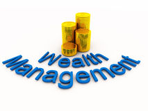 Wealth management concept. Gold coins stacked with wealth management written with curved text stock illustration