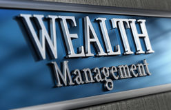 Wealth Management. 3d illustration of a wealth management company Close up of the facade with blur effect, blue and grey tones stock illustration