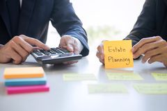 Wealth Management and financial concept, Team of Business accounting analyzing and calculation on valuation data investment fund stock images