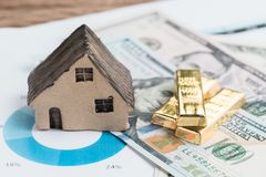 Wealth management or investment asset allocation concept, house, gold bars ingot on pile of US dollar bills on percentage pile ch. Art using in balance risk and stock photos