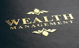 Wealth Management Firm. Wealth management phrase embossed design with golden foil over black paper background. 3D illustration. Financial advisory Concept Royalty Free Stock Photos
