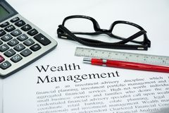 Wealth management text of business concept background Royalty Free Stock Image