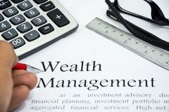 Wealth management text of business concept Royalty Free Stock Photo