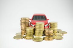 Wealth, money and car Stock Photography