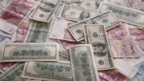 Wealth and money. Dollars flow backward stock footage