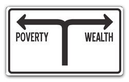 Wealth & Poverty. Street sign showing the directions to wealth and poverty Royalty Free Stock Photos