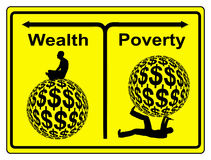 Wealth and Poverty. Concept sign of social and economic inequity and the worldwide wealth gap Stock Photography