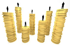 Wealth Ranks. 3d render illustration of gold coin pillars with silhouettes of business people as toppings Stock Photography