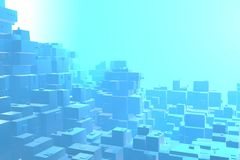 Wealth rich concept idea of blue city at sunset rays Abstract space background.3D illustration rendering.  royalty free illustration