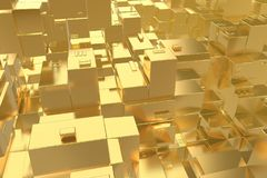 Wealth rich concept idea Golden city at sunset rays Abstract space background.3D illustration rendering.  Stock Illustration