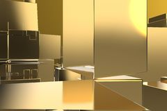 Wealth rich concept idea Golden city at sunset rays Abstract space background.3D illustration rendering.  royalty free illustration