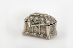 Wealth. Silver Casket with dollar inside on white background Royalty Free Stock Photography