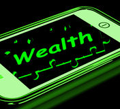 Wealth On Smartphone Shows Financial Treasures Royalty Free Stock Photography