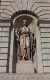 Wealth Statue (XIX c.) of Porta Venezia gates in Milan, Italy Royalty Free Stock Photos