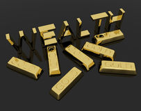 Wealth Text And Gold Bars As Symbol Of Riches. Wealth Text And Shiny Gold Bars As Symbol Of Riches And Capital Royalty Free Stock Image