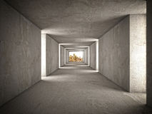 Wealth tunnel. 3d image of abstract tunnel and golden money Royalty Free Stock Image