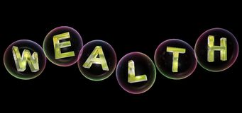 The wealth word in bubble. The wealth word in soap bubble on black background,3d rendered Royalty Free Stock Images