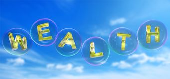 The wealth word in bubble. The wealth word in soap bubble on blue sky background,3d rendered Stock Photos