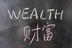 Wealth word in Chinese and English Stock Photos