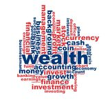 Wealth word cloud Royalty Free Stock Photos