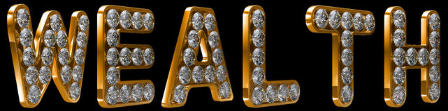 Wealth word incrusted with diamonds Royalty Free Stock Photos